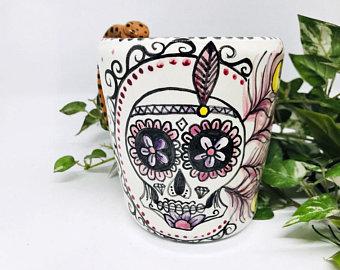 tazza messicana a forma di teschio