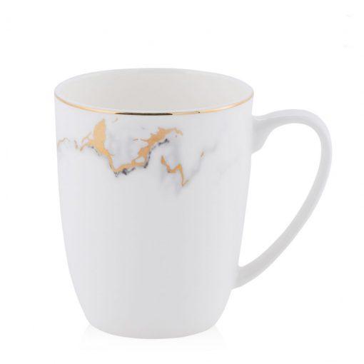 tazza con effetto marmo, dorata e nera